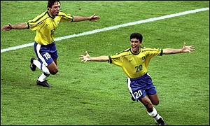 Bebeto scores against Norway in the 1998 World Cup