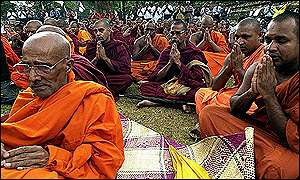 Buddhists at prayer in Kandy