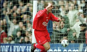 Murphy celebrates Liverpool's first against Tranmere