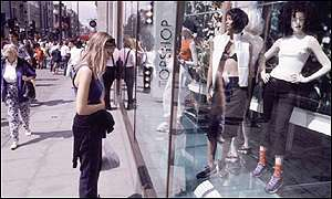Window shopping on Oxford Street