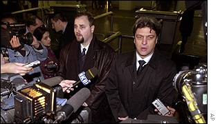 Blagoje Simic (left) and his lawyer Igor Pantelic at Belgrade airport