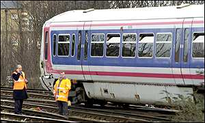One of the trains involved