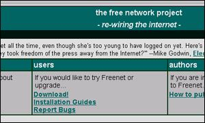 Freenet web site screenshot