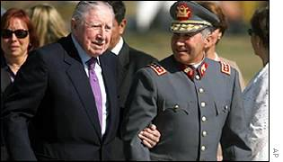 General Pinochet arrives home from Britain