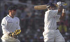 VVS Laxman on his way to a hundred in Calcutta
