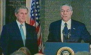 President Bush with Secretary of State Colin Powell