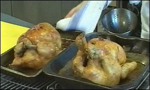 Cooked chickens