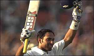 Laxman celebrates his century against Australia