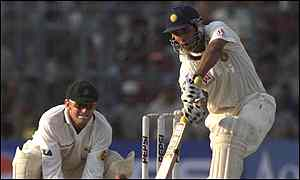 Record breaker Laxman in action on day four for India