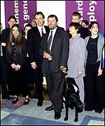 Tony Blair and David Blunkett at photo opp.
