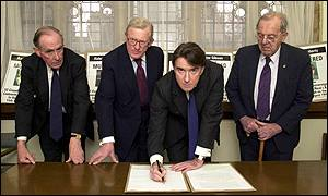 Former Northern Ireland Secretaries Peter Brooke, Tom King, Peter Mandelson and Lord Merlyn-Rees