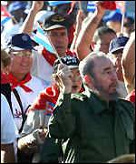 Fidel Castro leads anti-embargo march
