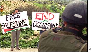 Israeli soldier aims at Palestinian demonstrators, West Bank