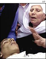 Mariam Banar with teenaged nephew Ahmed Banar, killed by Israeli troops