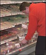 Shopper at a British supermarket