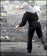 Palestinian man throwing stones
