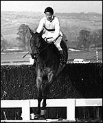 Arkle jumps the last on his way to winning the 1965 Gold Cup