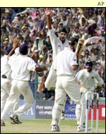 Harbhajan Singh celebrates one of his 13 wickets in the Calcutta Test