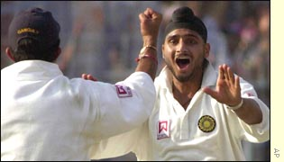 Harbhajan Singh claims a wicket in the second Test against Australia