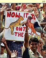 Indian fans celebrate at Eden Gardens