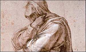 Study of a Woman Draped in Mourning Clothes by Michelangelo