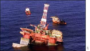 Petrobras platform P-36 tilts in the Atlantic ocean off the coast of Brazil