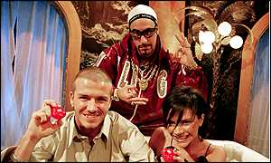 Ali G (back) made David and Victoria Beckham squirm