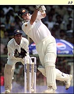 Mark Waugh hits another boundary during his half century