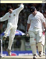 Zaheer Khan celebrates removing Michael Slater for four
