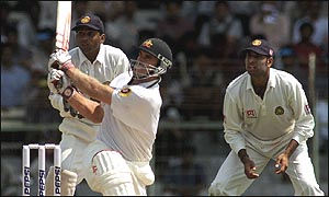 Matthew Hayden on his way to a score of 203 in Chennai