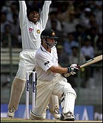 Steve Waugh survives an lbw appeal