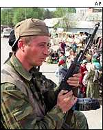 Russian soldiers patrol Grozny