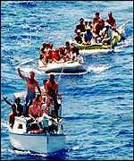 Cubans crossing the Florida straits