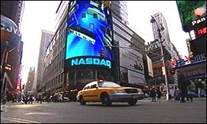 The Nasdaq Big Board in Times Square, New York