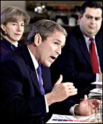 US President George W Bush with Interior Secretary Gale Norton and Energy Secretary Spencer Abraham