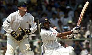 Rahul Dravid of India hits a four