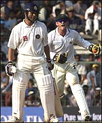 Adam Gilchrist claims a catch to dismiss Sachin Tendulkar
