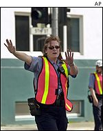 Traffic control officer Cynthia Byrne at work during power cuts on Tuesday