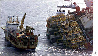 Salvage efforts prior to P36 rig's sinking