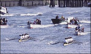 The Boat Race armada in action back in 1995
