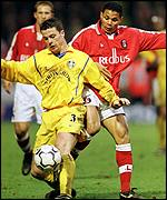 Ian Harte and John Salako at Charlton v Leeds, 17 March 2001