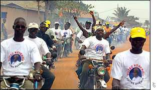 Supporters of President Kerekou rally