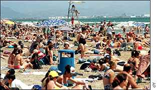 Crowded beach in Valencia on Spain's Mediterranean coast