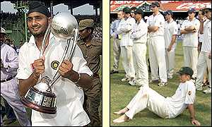 Harbhajan Singh with the trophy