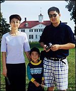 Family photo of Gao with husband Xue Donghua and son Andrew