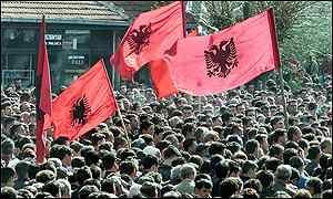 Ethnic Albanians demonstrate in Prizren, Kosovo, in support of rebels fighting the Macedonian government.