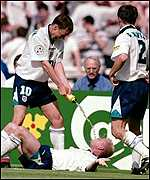 Gascoigne reproduces the 'dentist's chair' after his goal against Scotland