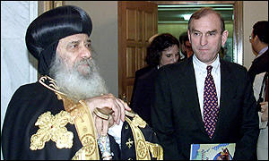 Egyptian Coptic Pope Shenouda III and USCIRF delegation chairman Elliot Abrams