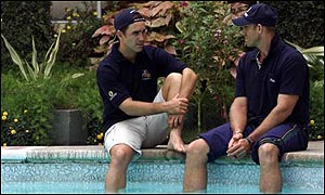 Justin Langer and Matthew Hayden on the morning after their defeat by India in the third Test