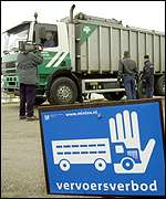 Lorry carrying slaughtered animals